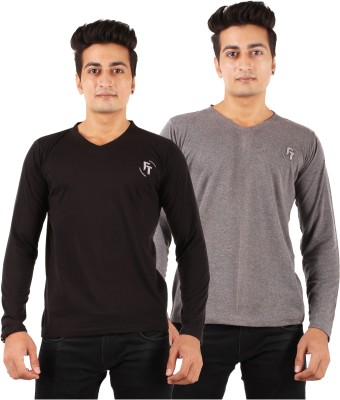 FTrick Solid Men's V-neck Black, Grey T-Shirt(Pack of 2)