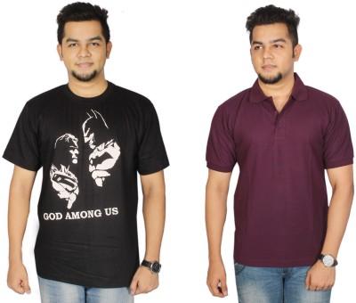 Leo Clothing Printed Men's Round Neck Reversible Black, Purple T-Shirt(Pack of 2)