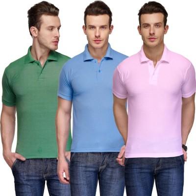 Teesort Solid Men's Polo Neck Multicolor T-Shirt(Pack of 3) at flipkart