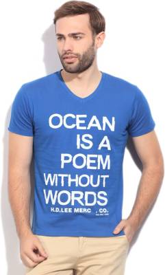 Lee Printed Men's V-neck Blue T-Shirt