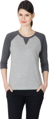 Hypernation Solid Women Round Neck Grey, Black T-Shirt at flipkart