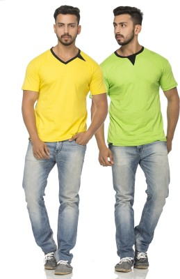 Demokrazy Solid Men's Henley Green, Yellow T-Shirt(Pack of 2) at flipkart