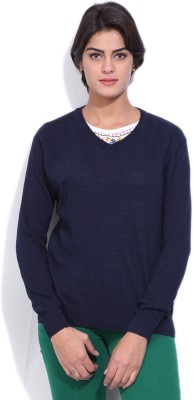 Pepe Jeans Solid Women's V-neck Blue T-Shirt