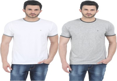 Basics Solid Men Round Neck White T-Shirt(Pack of 2) at flipkart