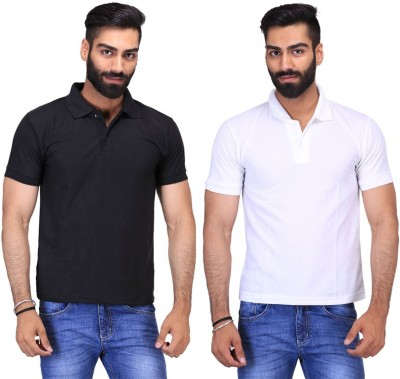 Fuego Solid Men's Polo Neck Black, White T-Shirt(Pack of 2)