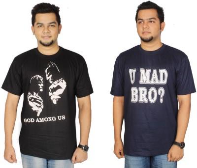 Leo Clothing Printed Men's Round Neck Reversible Black, Dark Blue T-Shirt(Pack of 2)