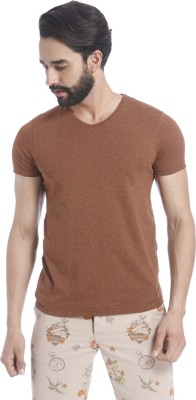 Aeropostale Solid Men V-neck Brown T-Shirt