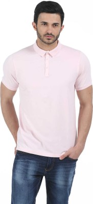 Basics Solid Men Polo Neck Pink T-Shirt at flipkart
