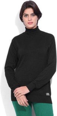 Pepe Jeans Solid Women's Turtle Neck Black T-Shirt