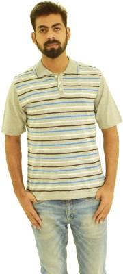Oldberri Striped Men's Polo Neck Grey T-Shirt