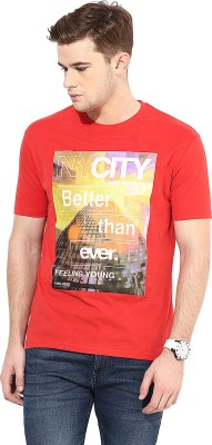 Cayman Printed Men's Round Neck Red T-Shirt