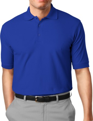 Moody's Kitchen Solid Men's Polo Neck Blue T-Shirt