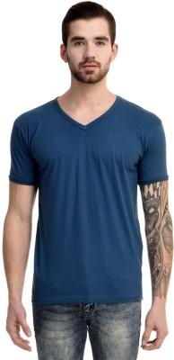 Mi Moda Solid Men V neck Light Blue T Shirt