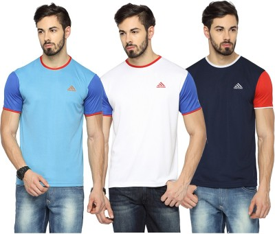Canyons Solid Men Round or Crew Light Blue, White, Dark Blue T-Shirt(Pack of 3) at flipkart