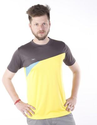 Zagros Solid Men's Round Neck Yellow, Grey T-Shirt