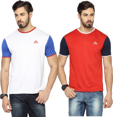 Canyons Solid Men Round Neck White, Red T-Shirt(Pack of 2) at flipkart