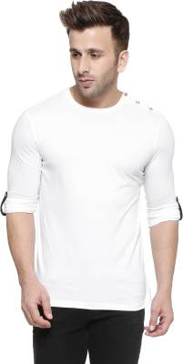 GESPO Solid Men's Round Neck White T-Shirt