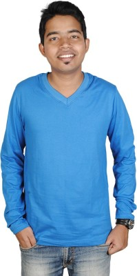 Vilva Solid Mens V-neck Blue T-Shirt
