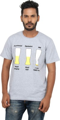Mighty Mojo Graphic Print Men's Round Neck Grey T-Shirt