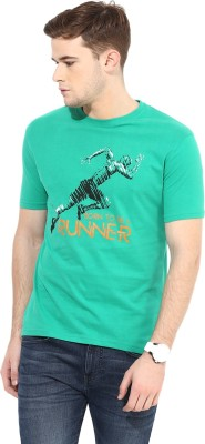 Cayman Printed Men's Round Neck Green T-Shirt