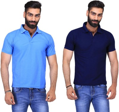 Fuego Solid Men's Polo Neck Dark Blue, Light Blue T-Shirt(Pack of 2)