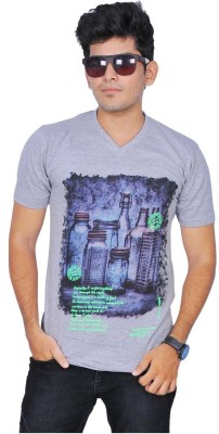 A1 Tees Printed Men's Round Neck Grey T-Shirt