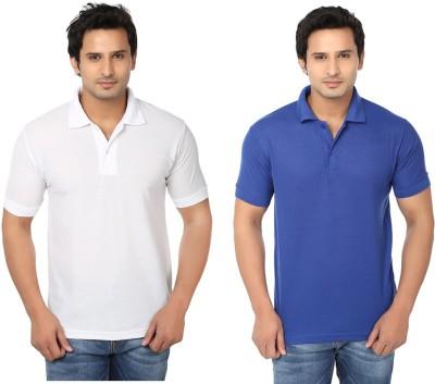 Keepsake Solid Men's Polo Neck White, Blue T-Shirt(Pack of 2)