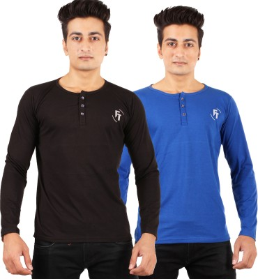 FTrick Solid Men's Henley Black T-Shirt(Pack of 2)