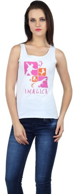 Imagica Printed Women's Round Neck White T-Shirt  available at flipkart for Rs.280