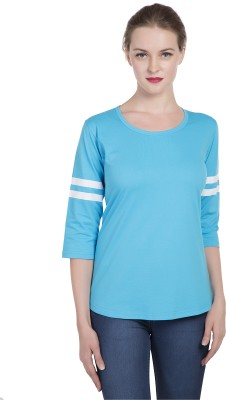 Alan Jones Solid Women Scoop Neck Blue T Shirt Alan Jones Women's T shirts