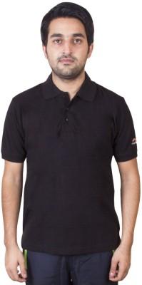 70d89568e387a4 Fastfox Solid Men s Polo Neck Black T-Shirt
