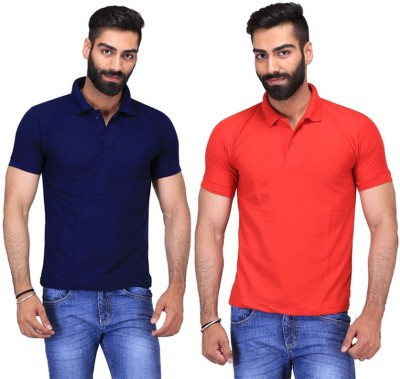 Fuego Solid Men's Polo Neck Dark Blue, Red T-Shirt(Pack of 2)