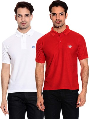French Circle Solid Men's Polo Neck White, Red T-Shirt(Pack of 2)