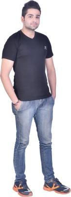 Colors & Blends Solid Men's V-neck Black T-Shirt  available at flipkart for Rs.225