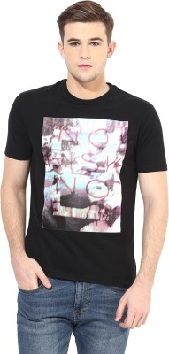 Cayman Printed Men's Round Neck Black T-Shirt