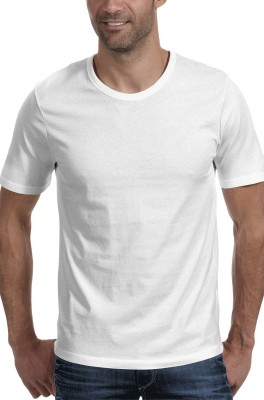 Moody's Kitchen Solid Men's Round Neck White T-Shirt