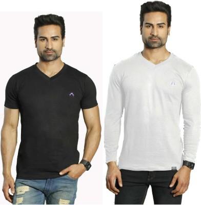 Albiten Solid Men's V-neck Black, White T-Shirt(Pack of 2)