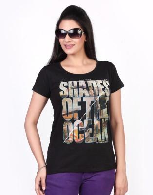 Fritzberg Printed Women Round Neck Black T-Shirt at flipkart