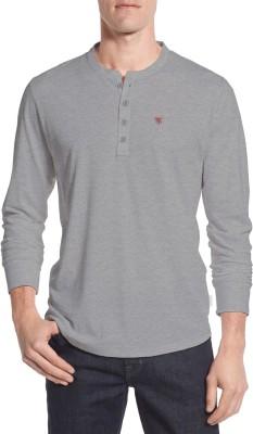 Moody's Kitchen Solid Men's Henley Grey T-Shirt