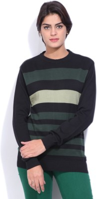 Pepe Jeans Striped Women's Round Neck Black T-Shirt