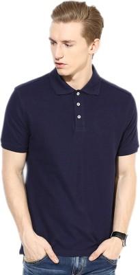 Go India Store Solid Men's Polo Neck Dark Blue T-Shirt