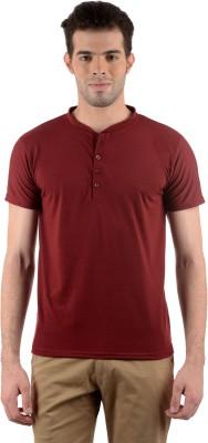 Gdivine Solid Men's Henley Maroon T-Shirt