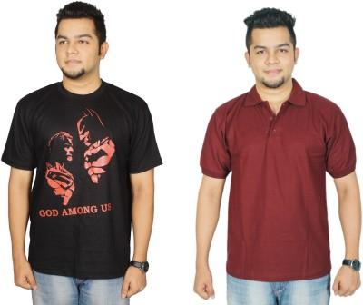 Leo Clothing Printed Men's Round Neck Reversible Black, Maroon T-Shirt(Pack of 2)