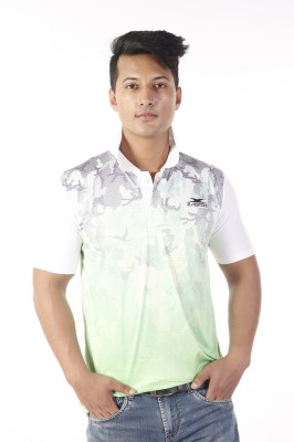 Zagros Printed Men's Polo Neck White T-Shirt