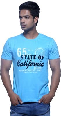 Masculino Latino Printed Men's Round Neck Reversible Blue T-Shirt