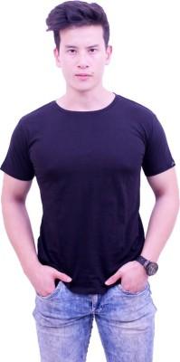 Jericho Solid Men's Round Neck Black T-Shirt