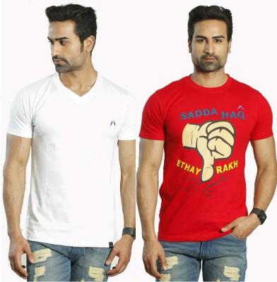 Albiten Solid Men's V-neck White, Red T-Shirt(Pack of 2)