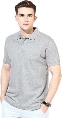 Go India Store Solid Men's Polo Neck Grey T-Shirt