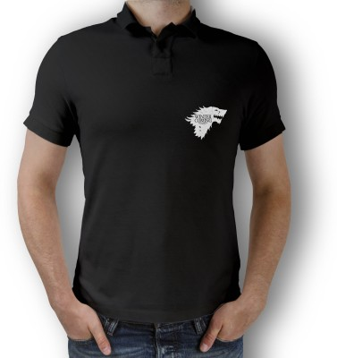 Teeforme Graphic Print Men Polo Neck Black T-Shirt at flipkart