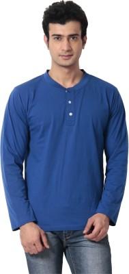 Leana Solid Men's Henley Dark Blue T-Shirt at flipkart